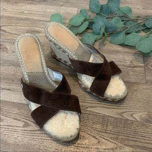 UGG | Fur Lined Suede Wedge Leather Upper Size 8.5